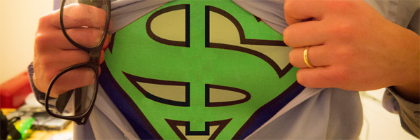 Shirt open showing Superman-stylized $ symbol